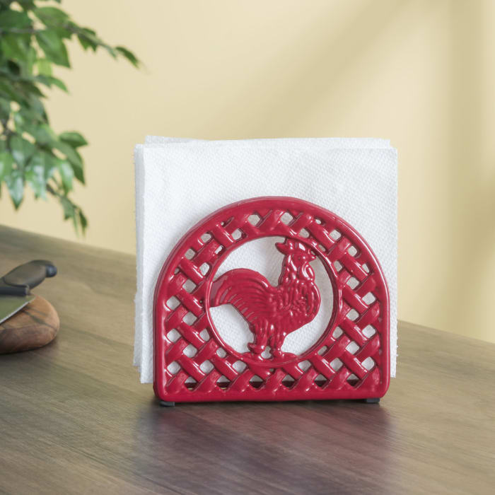 Red Cast Iron Rooster Napkin Holder