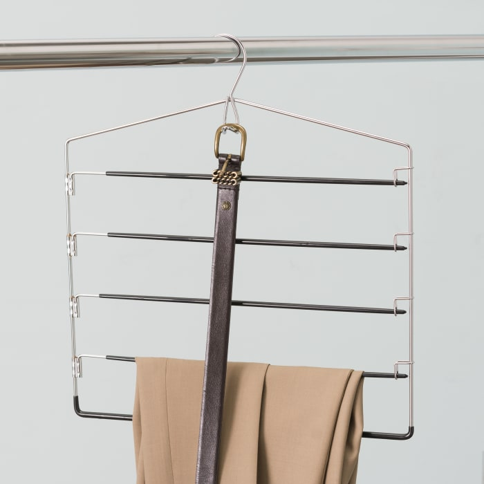 4 Tier PVC Coated Trouser Hanger and Built-In Accessory Hook