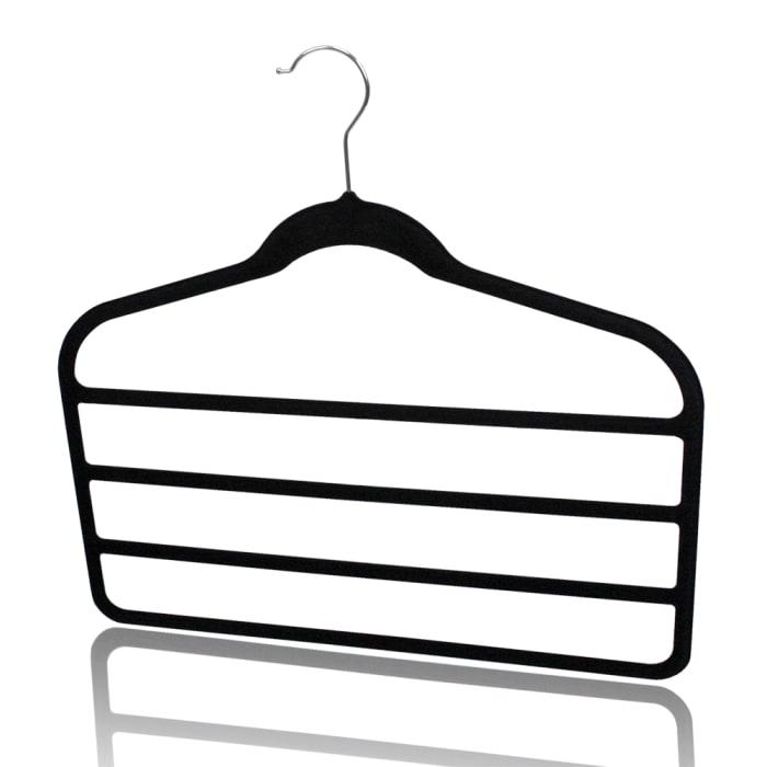 Black Velvet Trouser Hanger, Pack of 3