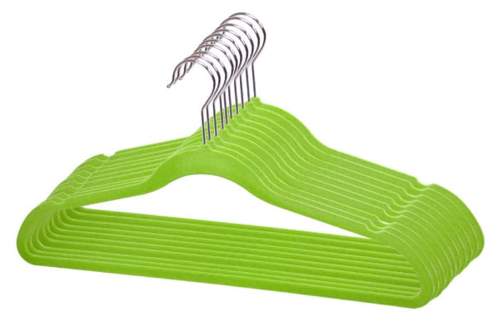 Green Velvet Hanger, Pack of 10