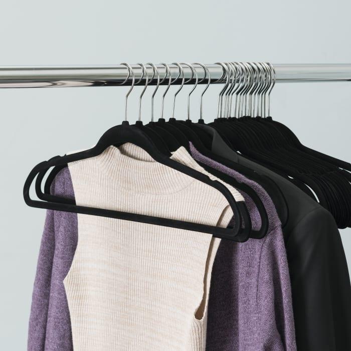 Black Velvet Hanger, Pack of 25