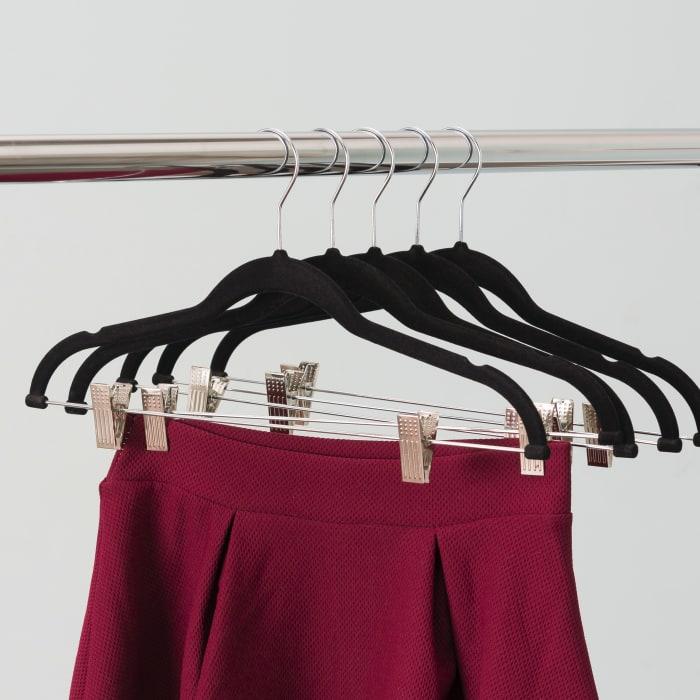 Black Velvet Hanger With Clips Pack of 5