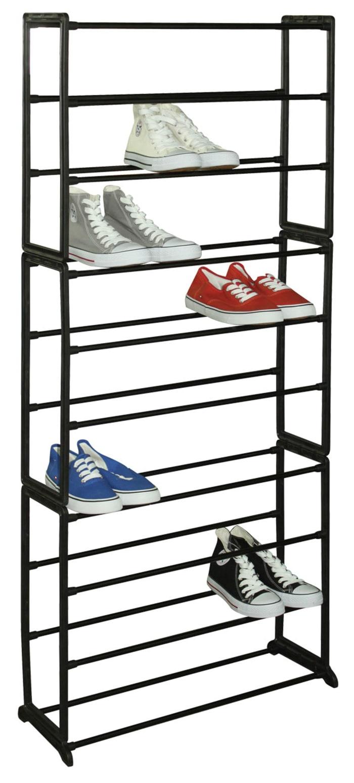 30 Pair Black Shoe Storage Rack