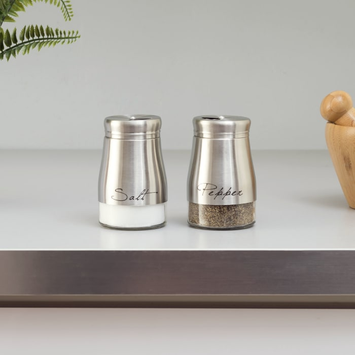 5oz Silver Salt and Pepper Set with Glass Base, Set of 2