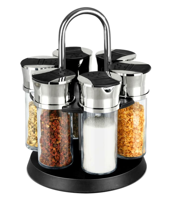 6-Jar Carousel Black Spice Rack with Carrying Handle