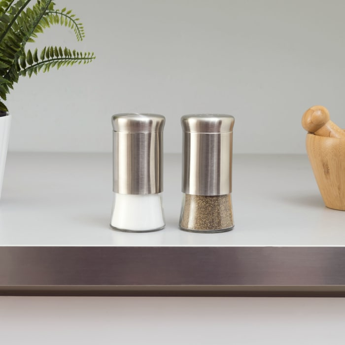 Essence Collection Silver Salt and Pepper Set with Glass Base, Set of 2