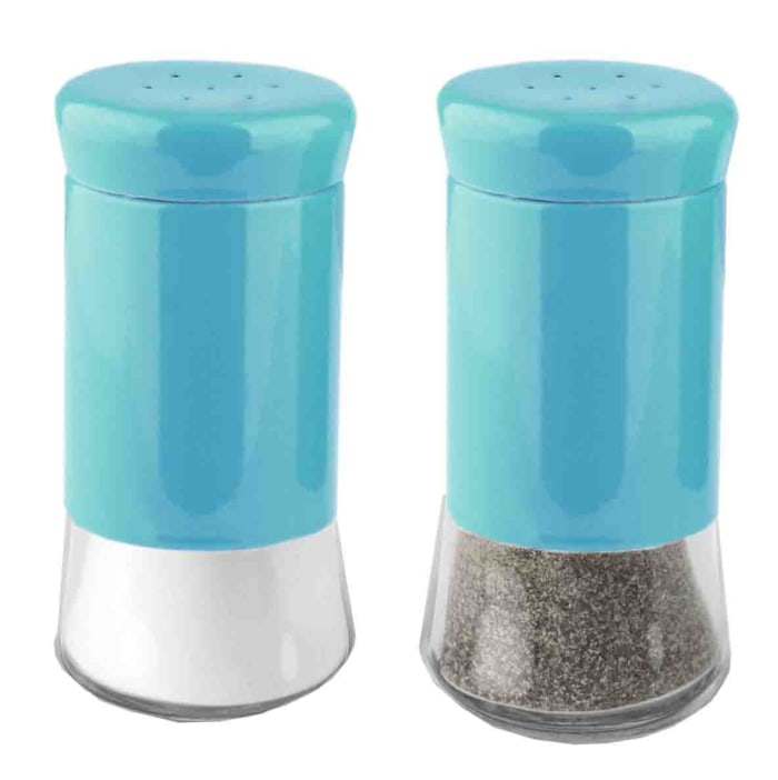 Essence Collection Turquoise Salt and Pepper Set with Glass Bottom, Set of 2