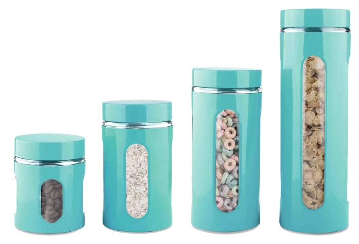 Essence Collection Turquoise Stainless Steel Canisters, Set of 4