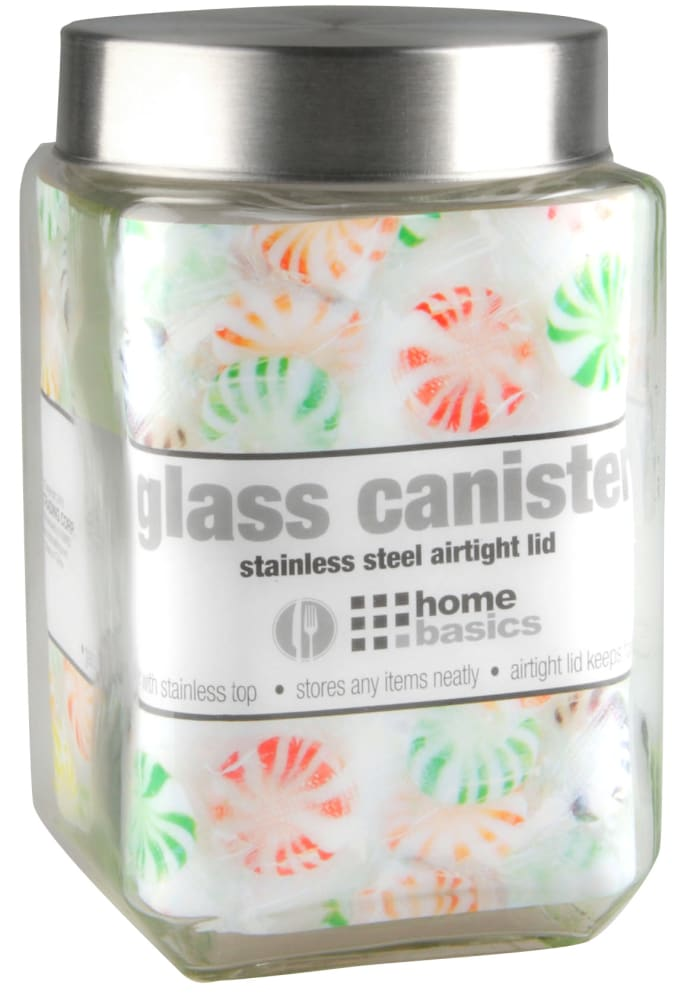 56 oz. Square Glass Canister with Brushed Stainless Steel Screw-on Lid