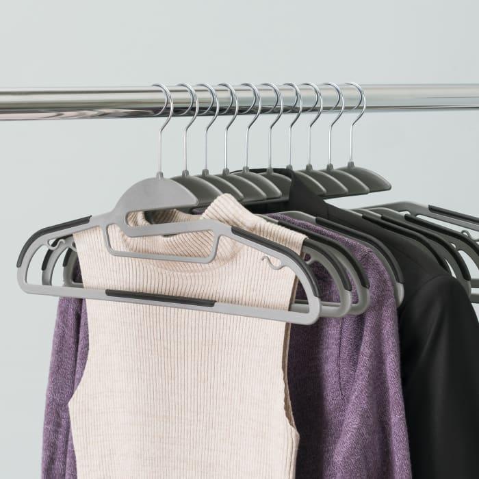 Black Plastic Non-Slip Hanger, Pack of 10