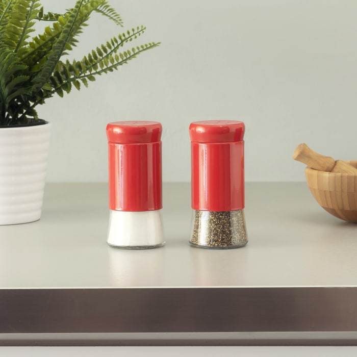 Essence Collection Red Salt and Pepper Set with Glass Bottom, Set of 2