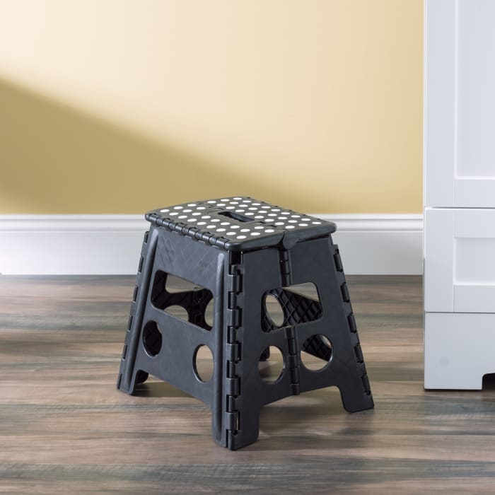 Large Black Foldable Plastic Stool with Non-Slip Dots