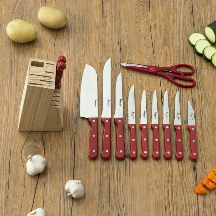Red 13 Piece Knife Set with Block Set of 13
