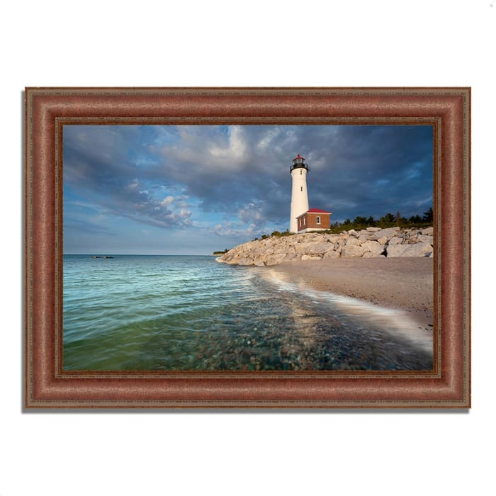 Framed Photograph Print 37 In. x 27 In. Crisp Point Lighthouse Multi Color