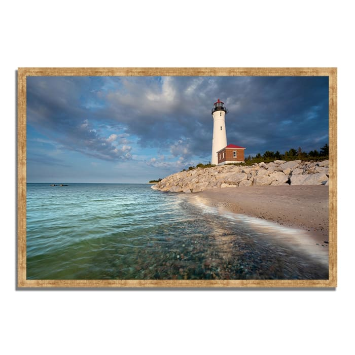 Framed Photograph Print 47 In. x 32 In. Crisp Point Lighthouse Multi Color
