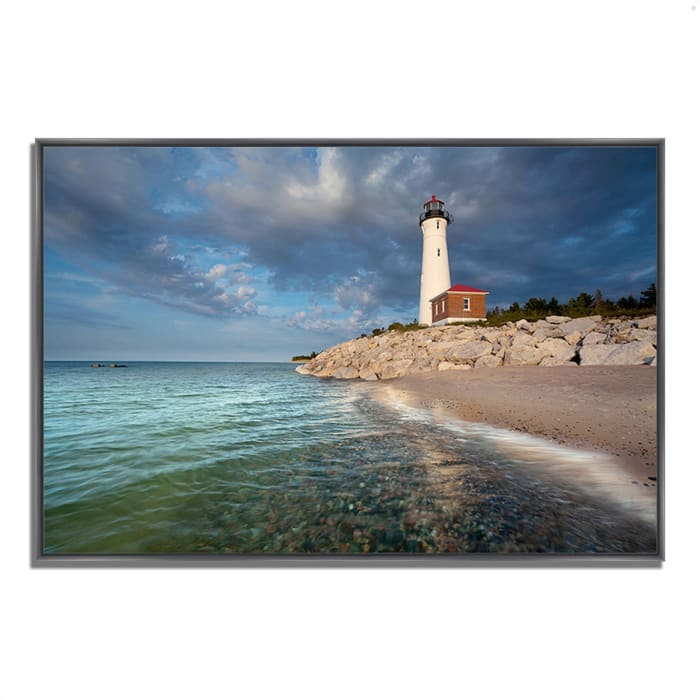 Fine Art Giclee Print on Gallery Wrap Canvas 32 In. x 22 In. Crisp Point Lighthouse Multi Color