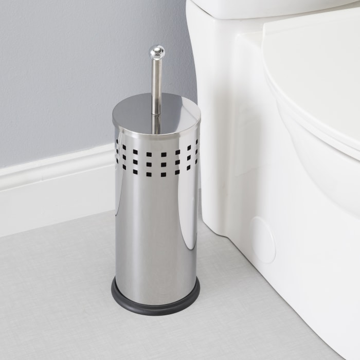 Stainless Steel Toilet Plunger and Holder, 2 Piece Set