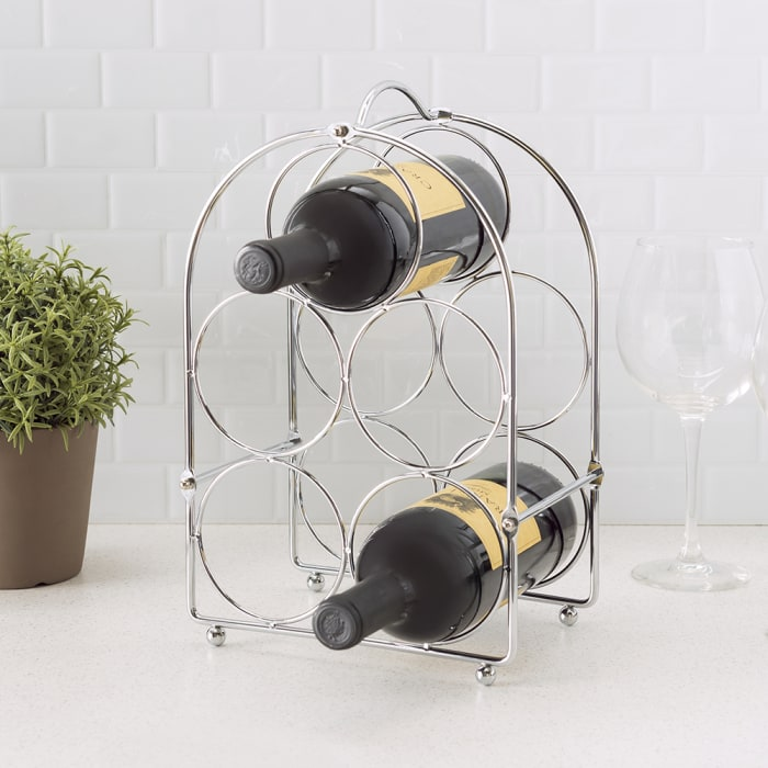 5 Bottle Chrome Plated Wine Rack