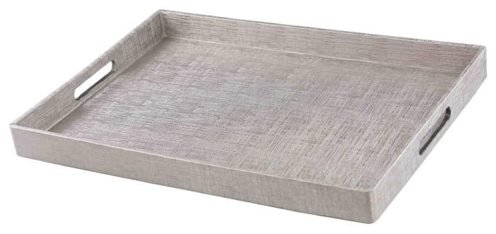 Silver Metallic Weave Serving Tray with Cut-Out Handles