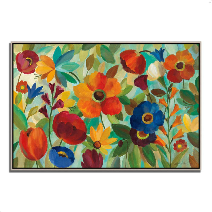 Fine Art Giclee Print on Gallery Wrap Canvas 32 In. x 22 In. Summer Floral V by Silvia Vassileva Multi Color
