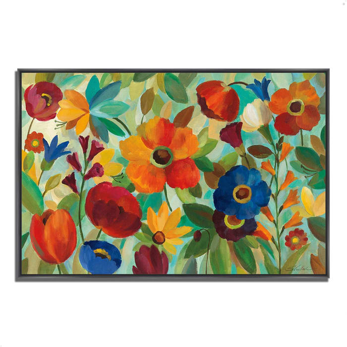 Fine Art Giclee Print on Gallery Wrap Canvas 38 In. x 26 In. Summer Floral V by Silvia Vassileva Multi Color