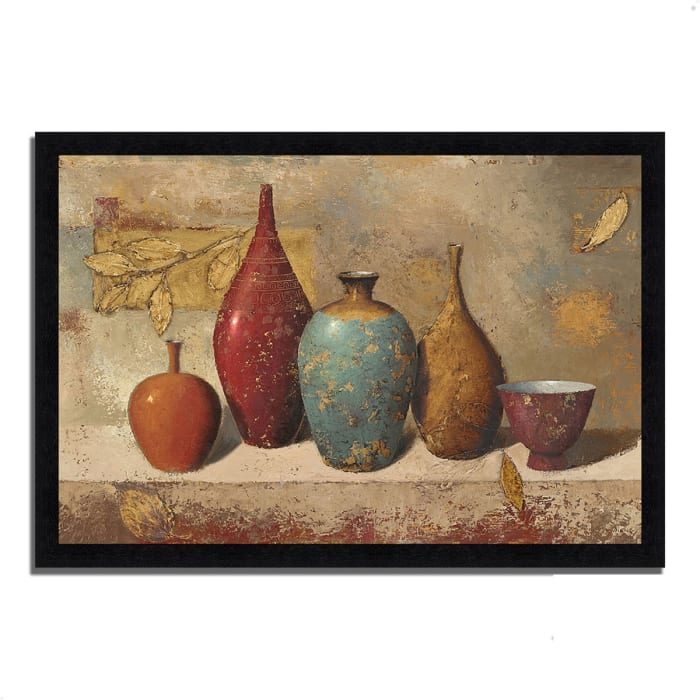 Framed Painting Print 39 In. x 27 In. Leaves and Vessels by James Wiens Multi Color