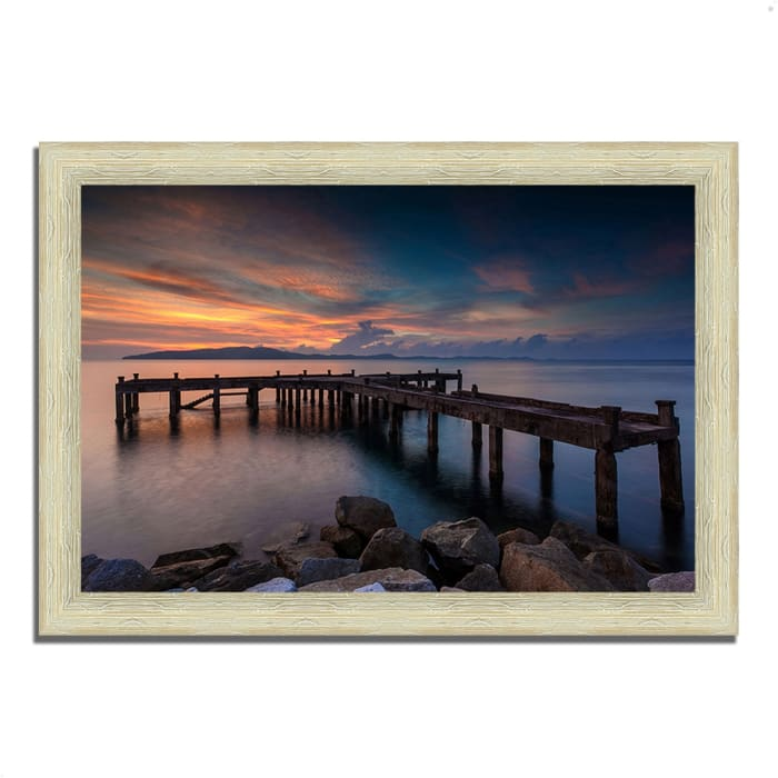 Framed Photograph Print 51 In. x 36 In. Sunrise Jetty Multi Color