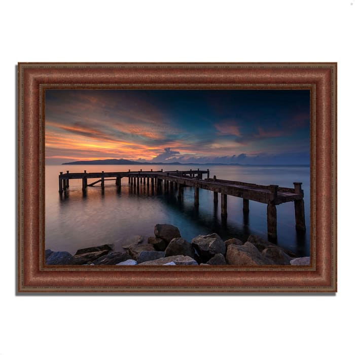 Framed Photograph Print 37 In. x 27 In. Sunrise Jetty Multi Color