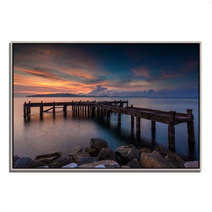 Fine Art Giclee Print on Gallery Wrap Canvas 47 In. x 32 In. Sunrise Jetty Multi Color