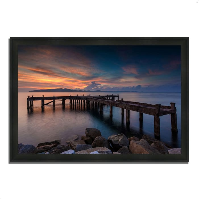 Framed Photograph Print 33 In. x 23 In. Sunrise Jetty Multi Color