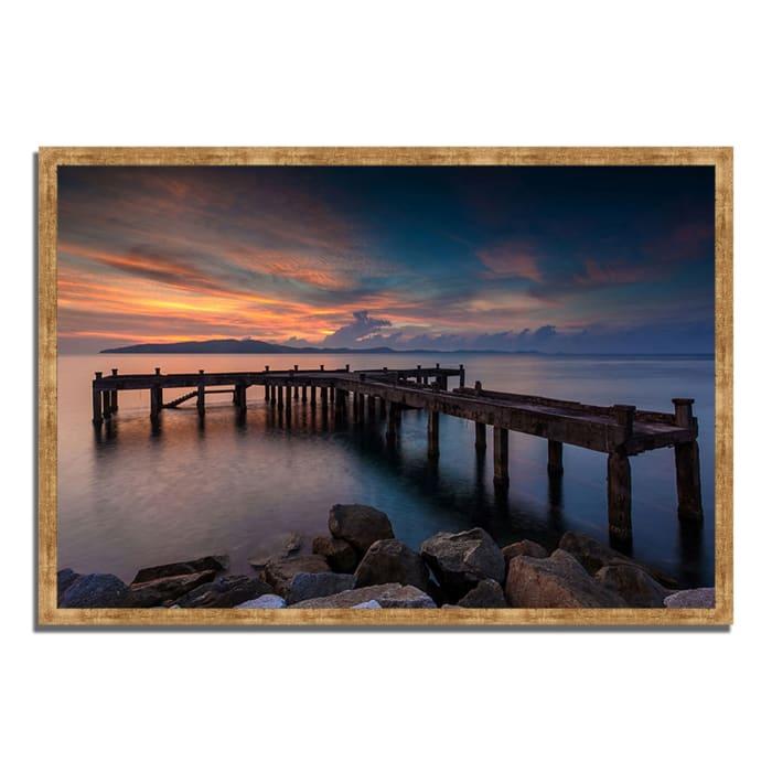 Framed Photograph Print 47 In. x 32 In. Sunrise Jetty Multi Color