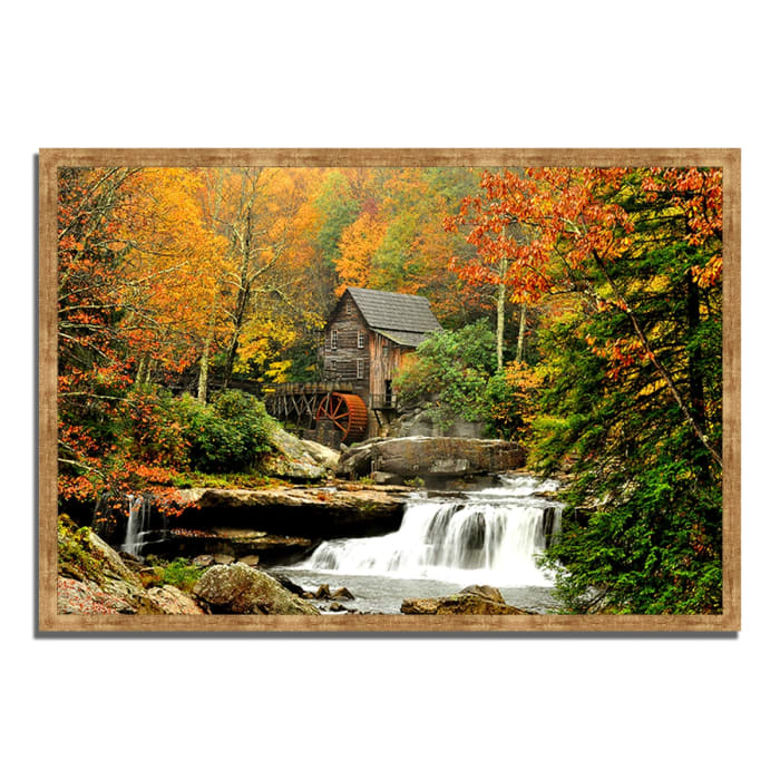 Framed Photograph Print 38 In. x 26 In. The Old Mill Multi Color