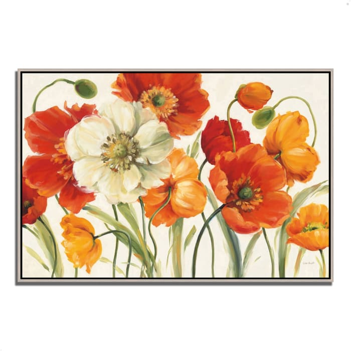 Fine Art Giclee Print on Gallery Wrap Canvas 32 In. x 22 In. Poppies Melody I by Lisa Audit Multi Color