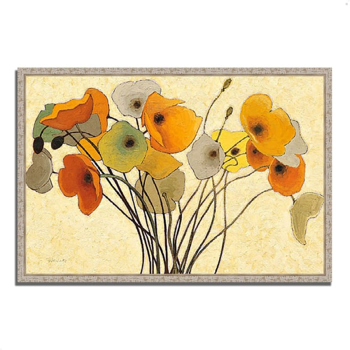 Fine Art Giclee Print on Gallery Wrap Canvas 47 In. x 32 In. Pumpkin Poppies I by Shirley Novak Multi Color