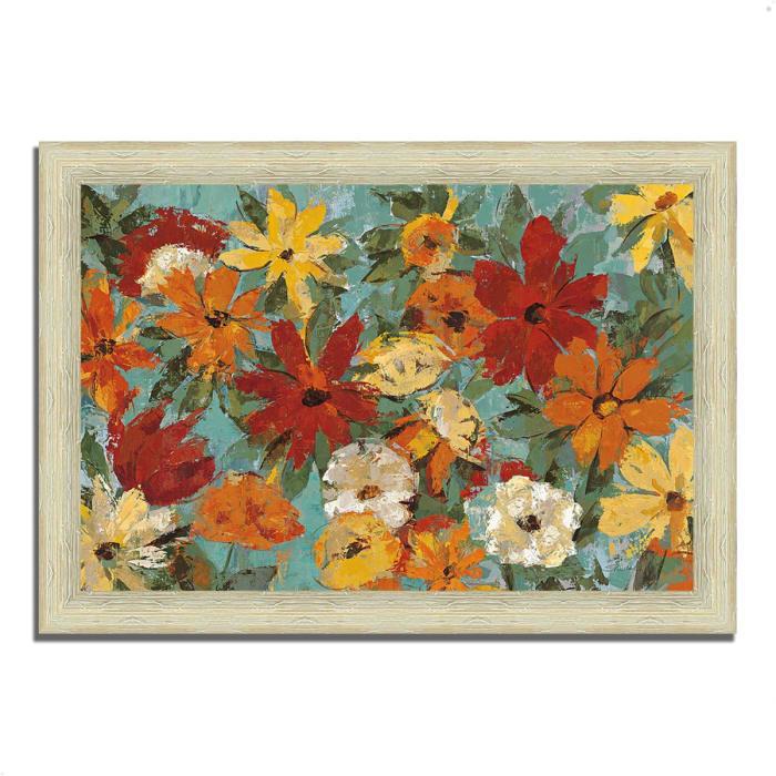 Framed Painting Print 63 In. x 44 In. Bright Expressive Garden by Silvia Vassileva Multi Color