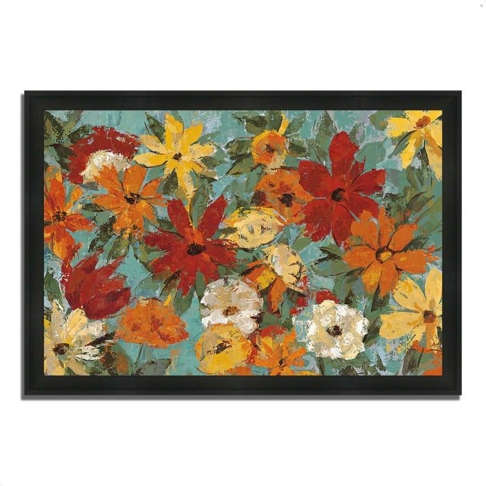 Framed Painting Print 33 In. x 23 In. Bright Expressive Garden by Silvia Vassileva Multi Color