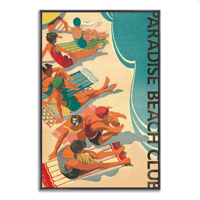 Fine Art Giclee Print on Gallery Wrap Canvas 40 In. x 59 In. Paradise Beach Club by Wild Apple Portfolio Multi Color