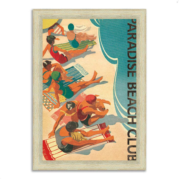 Framed Painting Print 44 In. x 63 In. Paradise Beach Club by Wild Apple Portfolio Multi Color