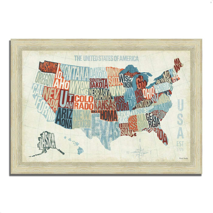 Framed Painting Print 51 In. x 36 In. USA Modern Blue by Michael Mullan Multi Color