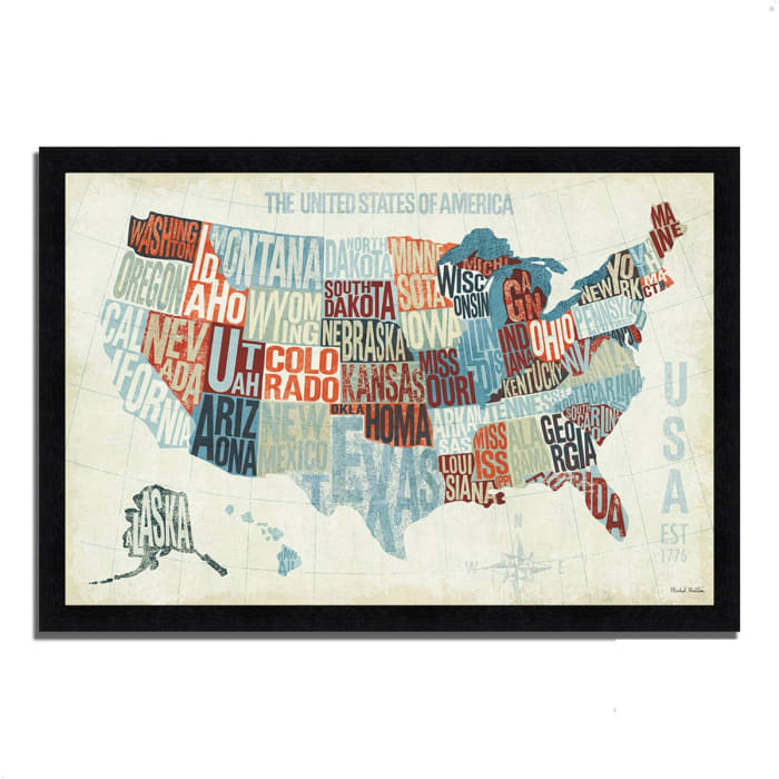 Framed Painting Print 46 In. x 33 In. USA Modern Blue by Michael Mullan Multi Color