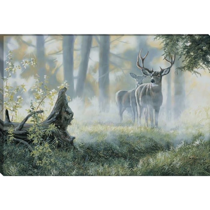 Fine Art Giclee Print on Gallery Wrap Canvas 36 In. x 24 In. Alert By Andrew Kiss Green and Blue
