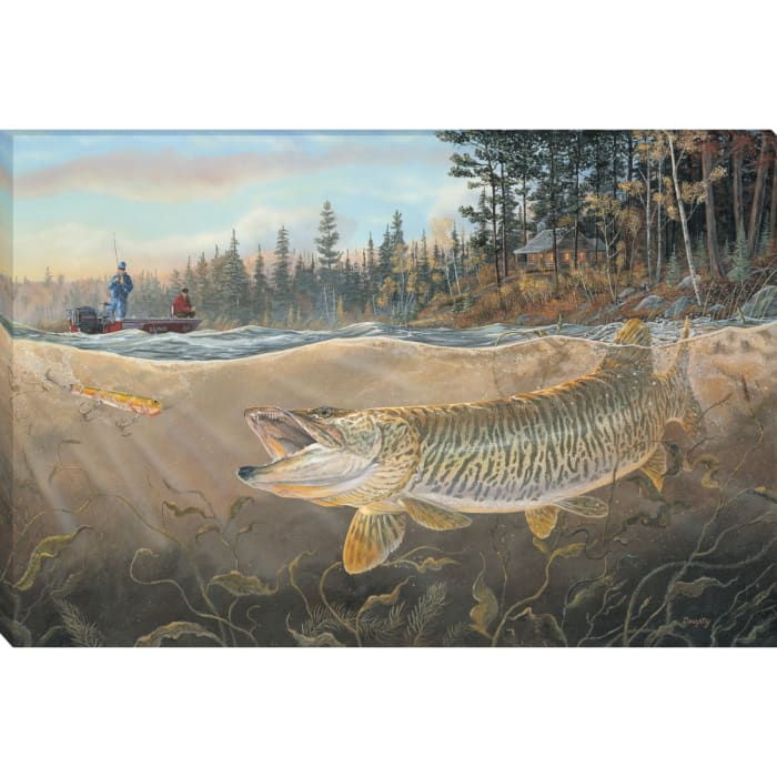 Fine Art Giclee Print on Gallery Wrap Canvas 36 In. x 24 In. Musky Bay By Terry Doughty Brown