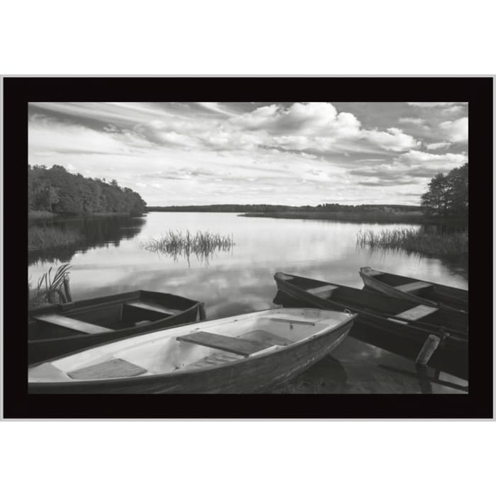Four Boats At Sunset By Monte Nagler, Framed Wall Art,