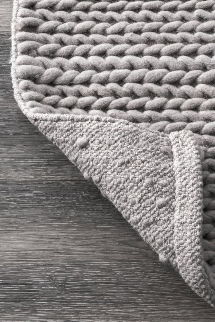 Hand Woven Chunky Woolen Cable 8' x 10' Light Gray Wool and Cotton Rug