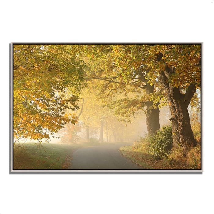 Fine Art Giclee Print on Gallery Wrap Canvas 32 In. x 22 In. On A Misty Autumn Morning Multi Color
