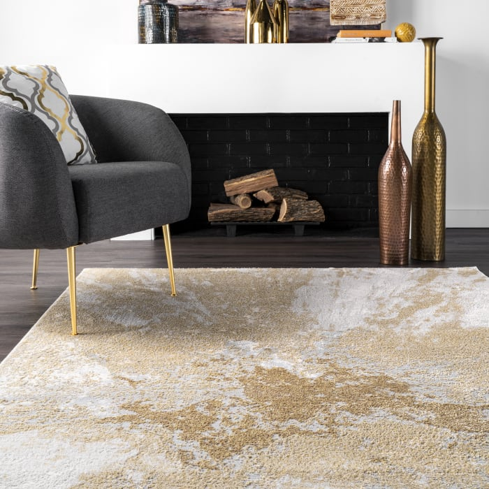 Contemporary Abstract Cyn 5' x 8' Gold Rug