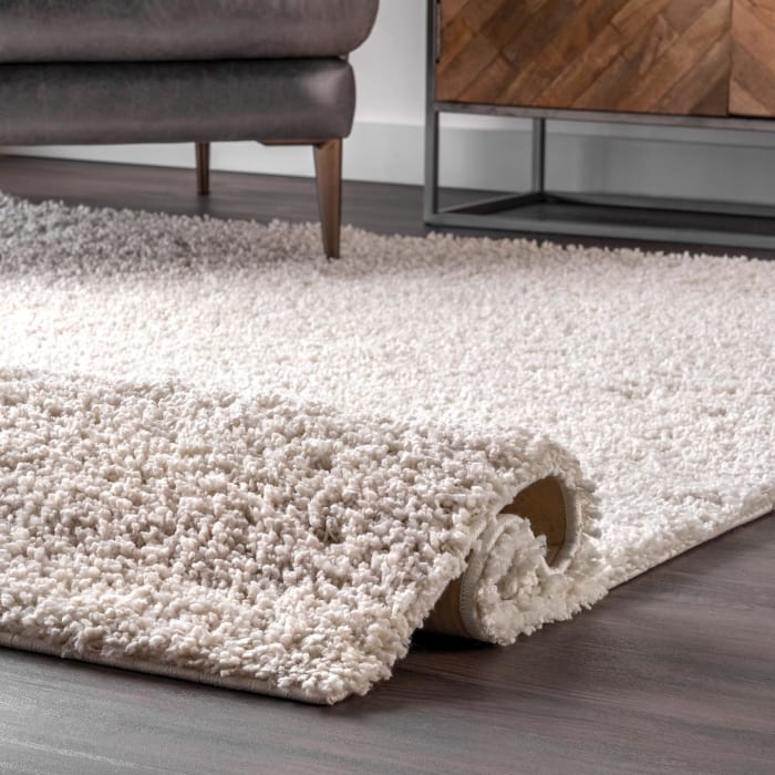 Clare Solid Shag 5' x 8' White Rug
