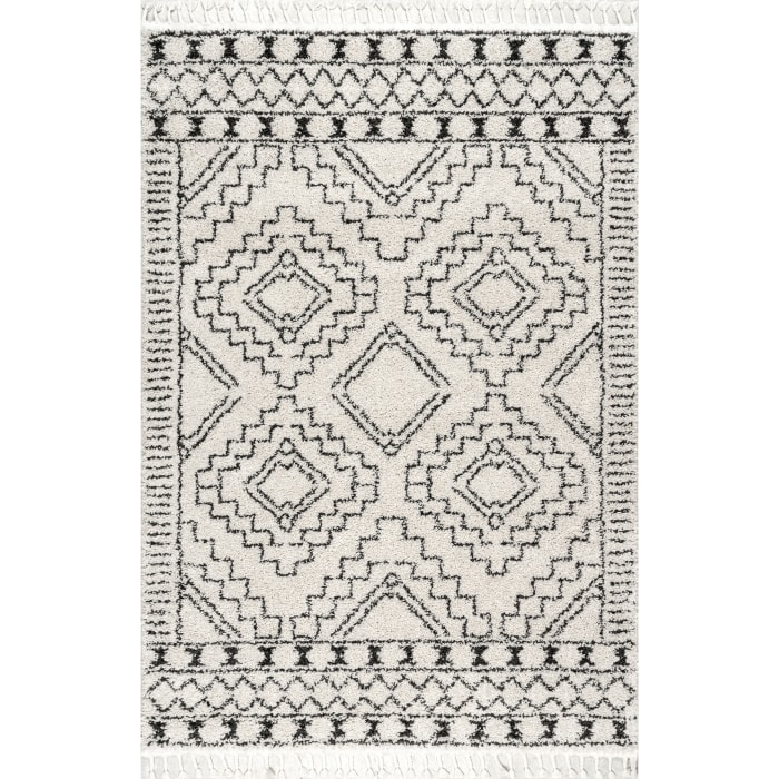 Vasiliki Moroccan Tribal Tassel 5' x 8' Off White Rug
