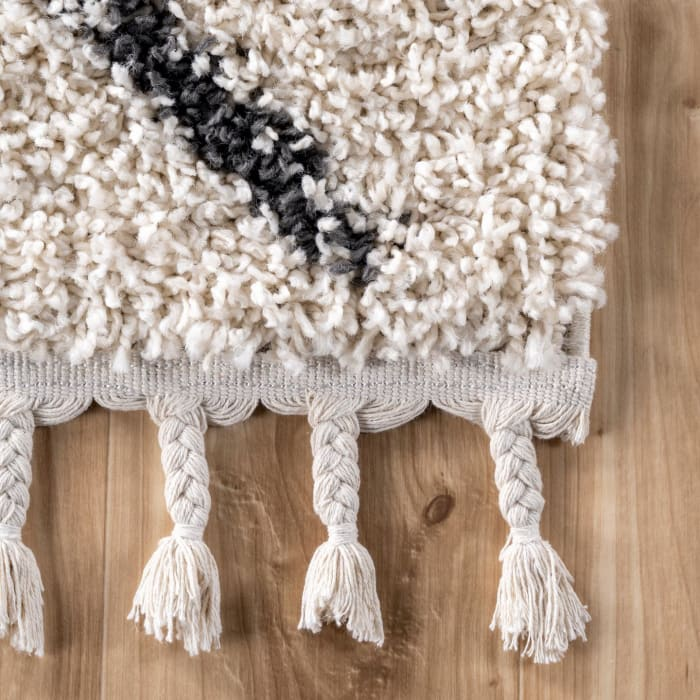 Jessie Moroccan Lattice Tassel 5' x 8' Off White Rug