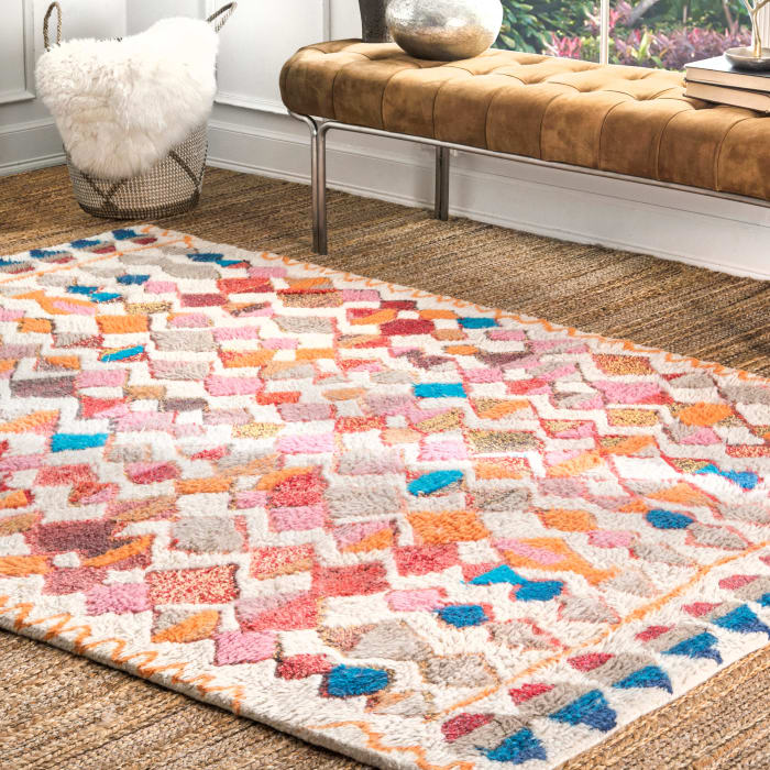 Hand Tufted Moroccan Helaine Shaggy 8' x 10' Multi Wool Rug